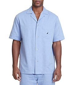 Nautica® Men's New Fit Herringbone Camp Pajama Shirt