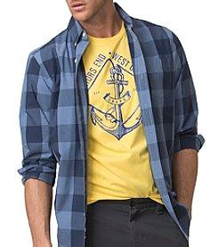 Chaps® Men's Long Sleeve Cotton Poplin Printed Woven Button Down