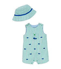 Little Me® Baby Boys Whales Sunsuit And Hat