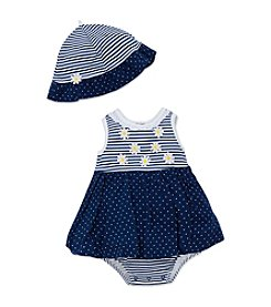 Little Me® Baby Girls' Daisy Dots Popover And Hat Set