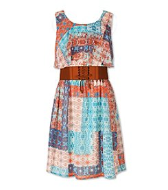 Speechless® Girls' 7-16 Patchwork Printed Dress And Belt