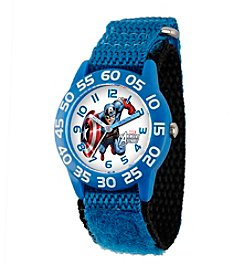 Marvel® Captain America® Boys' Blue Plastic Time Teacher Watch