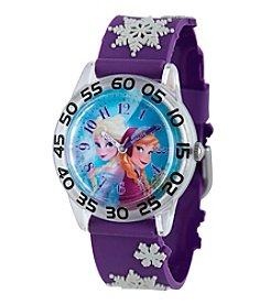 Disney® Frozen Anna and Elsa Girls' Plastic Time Teacher Watch