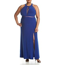 Morgan & Co.® Plus Size Lace Up Front Dress