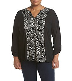 Lucky Brand® Plus Size Printed Woven Mix Henley Top