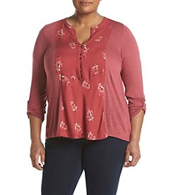 Lucky Brand® Plus Size Printed Woven Henley Top