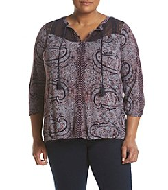 Lucky Brand® Plus Size Lace Yoke Peasant Top