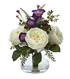 Nearly Natural® Rose and Morning Glory Arrangement with Vase