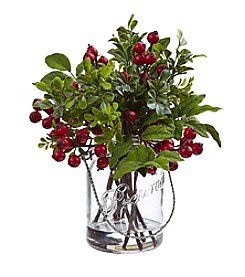 Nearly Natural® Berry Boxwood in Glass Jar