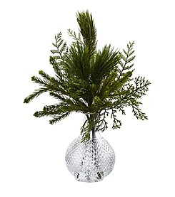 Nearly Natural® Mixed Pine in Glass Vase