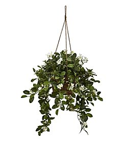 Nearly Natural® Mixed Stephanotis Hanging Basket