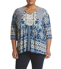 Oneworld® Plus Size Notchneck Peasant Top