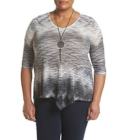 Oneworld® Plus Size V-Neck Sharkbite Top