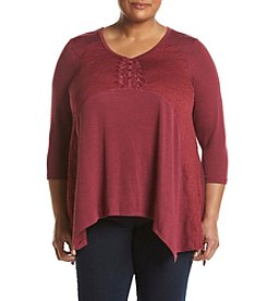Oneworld® Plus Size Henley Sweater Top