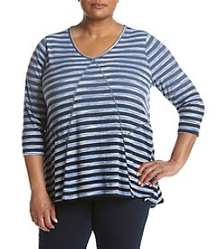 Oneworld® Plus Size V-Neck Swing Top