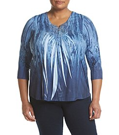 Oneworld® Plus Size Tie Dye Notchneck Top