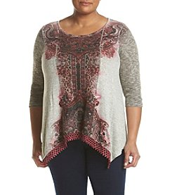 Oneworld® Plus Size Sublimination Sharkbite Top