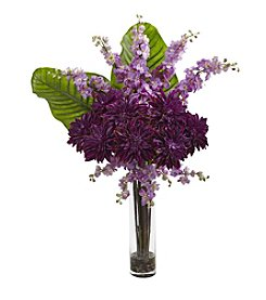 Nearly Natural® Dahlia, Delphinium and Travelers Palm Arrangement