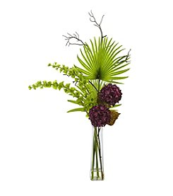 Nearly Natural® Hydrangea, Bells Of Ireland and Palm Frond Arrangement