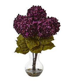 Nearly Natural® Hydrangea Silk Flower Arrangement with Vase