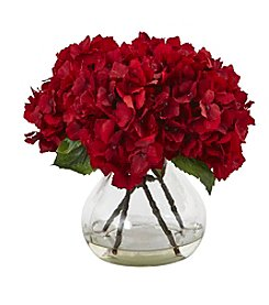 Nearly Natural® Red Hydrangea Silk Flower Arrangement with Vase