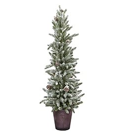 Nearly Natural® Snowy Mini Pine with Glass Vase