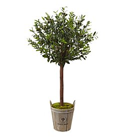Nearly Natural® Olive Topiary Tree with European Barrel Planter