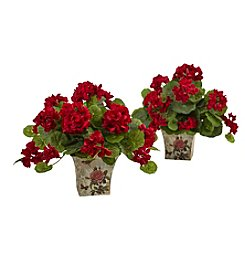 Nearly Natural® Set of 2 Geranium Flowering Silk Plant with Planter