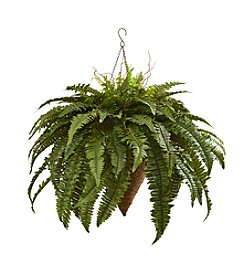 Nearly Natural® Giant Boston Fern with Cone Hanging Basket