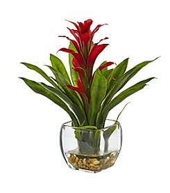 Nearly Natural® Bromeliad with Vase Arrangement