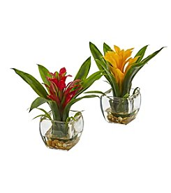 Nearly Natural® Set of 2 Bromeliad with Vase Arrangement