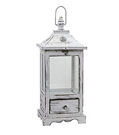 Nearly Natural® Distressed Wooden Lantern with Drawers