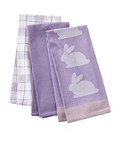 LivingQuarters Bunny 3-Pk. Kitchen Towels