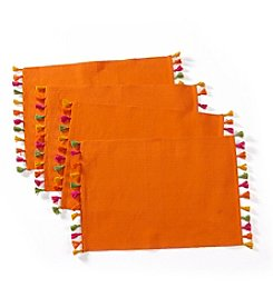 LivingQuarters Set of 4 Tassel Trimmed Placemats
