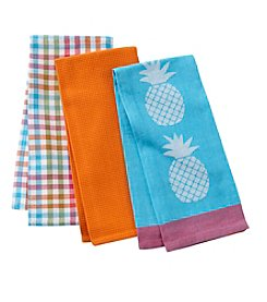 LivingQuarters Pineapple Set of 3 Kitchen Towels