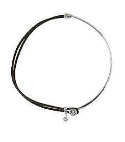 City x City Silver Plated With Leather Choker