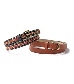 Steve Madden Pattern Belt Set