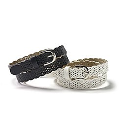 Steve Madden 2-For-1 Perforated Belt Set