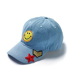 Steve Madden Smiley Face Patch Baseball Hat