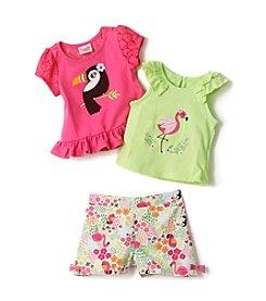 Nannette® Baby Girls' 3-Piece Toucan Shorts Set