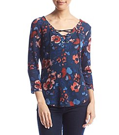 William Rast® Floral Lace-Up Top