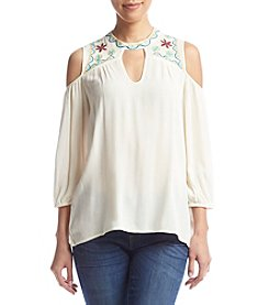 Living Doll® Embroidered Cold-Shoulder Top