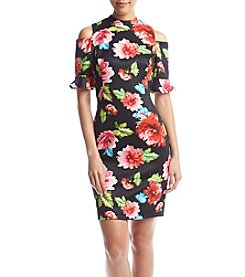 XOXO® Floral Cold-Shoulder Bodycon Dress