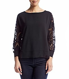 Eyeshadow® Lace Sleeve Crepe Shirt