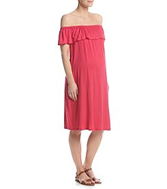 Three Seasons Maternity™ Off The Shoulder Solid Knit Dress