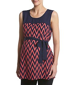 Three Seasons Maternity™ Solid Yoke Chevron Print Tank