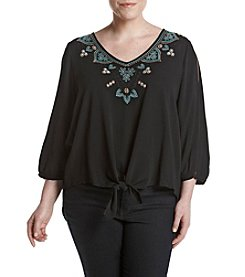 Cupio Plus Size Embroidered Cold Shoulder Top