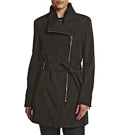 Calvin Klein Assymetrical Zip Front Trench Coat