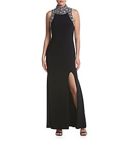 Betsy & Adam® Jewel Neck Long Dress
