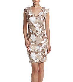 Calvin Klein Metallic Floral Sequin Dress